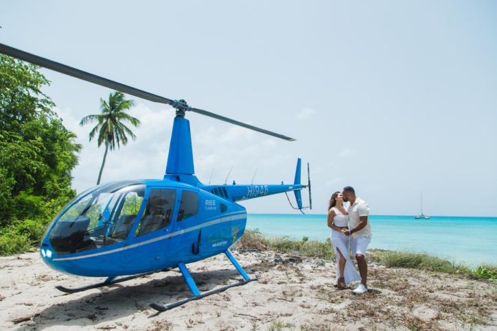 Предложение руки и сердца, полет на вертолете на остров Саона