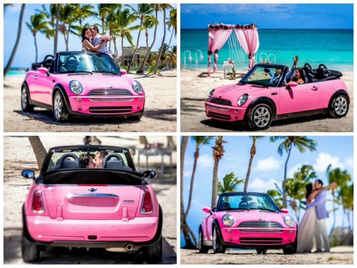 Аренда розового Mini Cooper для фотосессии