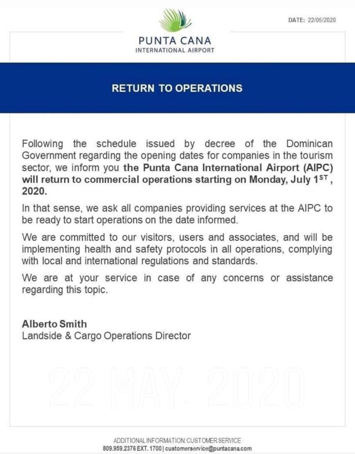 Международный аэропорт Пунта Каны возобновляет свою деятельность 1 июля 2020 года